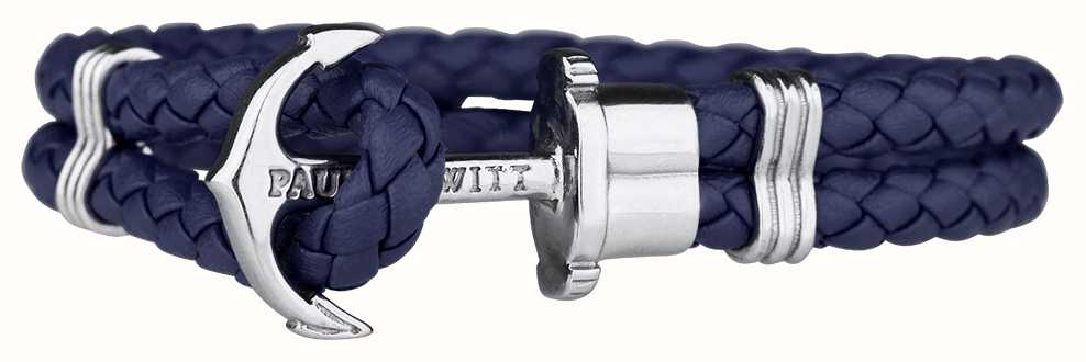 Paul Hewitt Jewellery Phrep Silver Anchor Navy Leather Bracelet Large PH-PH-L-S-N-L