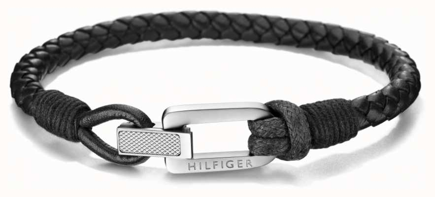 Tommy Hilfiger Mens Leather Black| Leather Bracelet 2701012