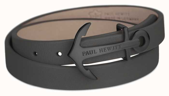 Paul Hewitt Jewellery Northbound Black Anchor Black Leather Bracelet Medium PH-WB-B-13M