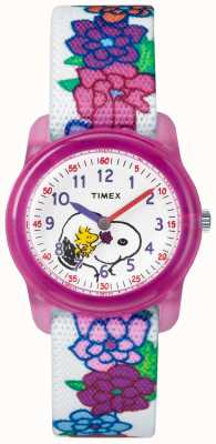 Timex Youth Analogue White Strap Snoopy Flowers TW2R41700JE