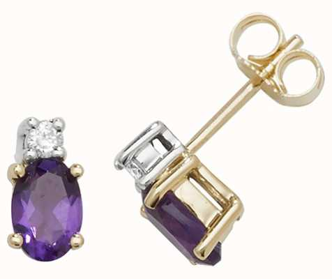Treasure House 9k Yellow Gold Oval Amethyst Diamond Stud Earrings ED249A