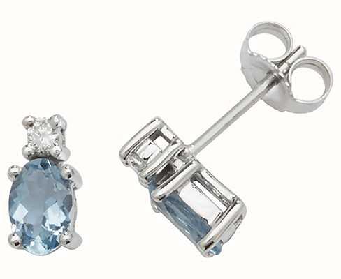 Treasure House 9k White Gold Oval Aquamarine Diamond Stud Earrings ED249WAQ