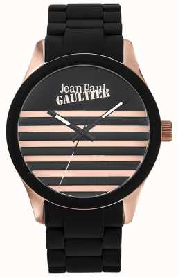 Jean Paul Gaultier Enfants Terribles Black Rubber Steel Bracelet Black Dial JP8501122