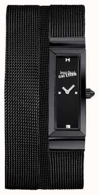 Jean Paul Gaultier Womens Cote De Maille Black PVD Mesh Bracelet Black Dial JP8503905