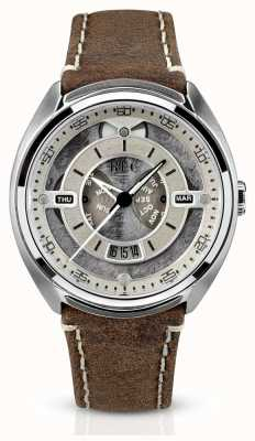 REC Porsche Automatic Brown Leather Strap White Dial P-901-02