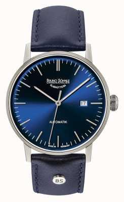 Bruno Sohnle Stuttgart Big Automatic 44mm Blue Leather Watch 17-12173-341