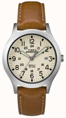 Timex Mens Expedition Scout Tan Leather Strap Natural Dial TW4B11000