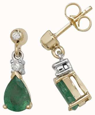 Treasure House 9k Yellow Gold Emerald Diamond Drop Earrings ED245E