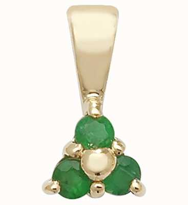 Treasure House 9k Yellow Gold 3 Stone Emerald Pendant PD230E