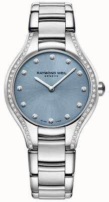 Raymond Weil Womens Noemia Diamond Stainless Steel Bracelet Blue Dial 5132-STS-50081