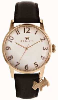 Radley Womans Liverpool Rose Gold Dial Dog Charm Dark Brown Leather RY2592
