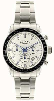 Rotary Mens Chronograph Stainless Steel Bracelet White Dial GB00470/01