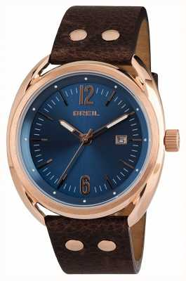 Breil Beaubourg Stainless Steel IPR Blue Dial Brown Strap TW1673