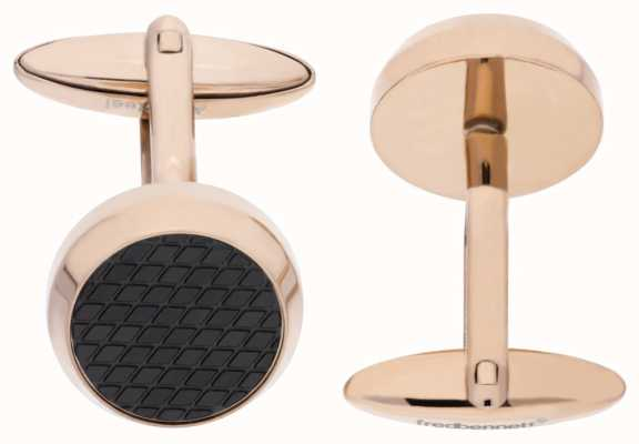 Fred Bennett Rose Gold Plated Stainless Steel Black Textured Cuff Links V498