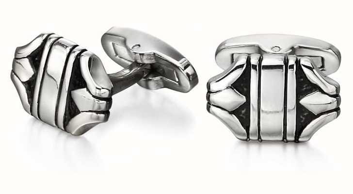 Fred Bennett Stainless Steel Ornate Patterned Textured Cuff Links V527