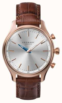 Kronaby 38mm SEKEL Bluetooth Rose Gold Leather Strap A1000-2748 S2748/1
