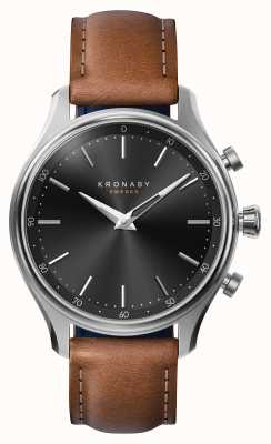 Kronaby 38mm SEKEL Bluetooth Steel Leather Strap Smartwatch A1000-2749