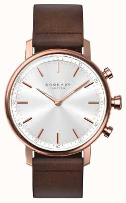 Kronaby 38mm CARAT Bluetooth Rose Gold Leather Strap A1000-1401 S1401/1