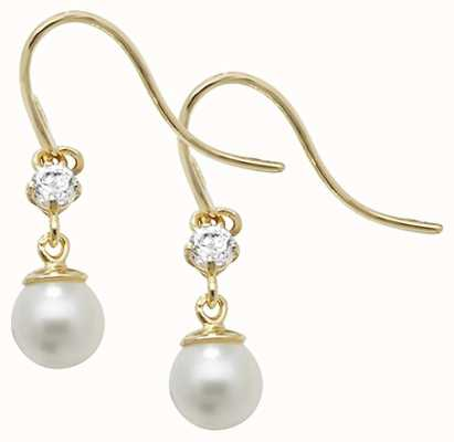 Treasure House 9k Yellow Gold Pearl Cubic Zirconia Drop Earrings ES464