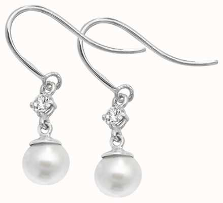 Treasure House 9k White Gold Pearl Cubic Zirconia Earrings ES464W