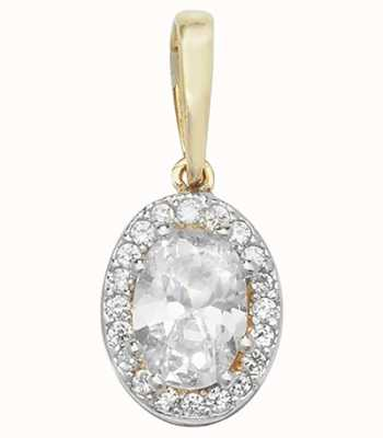 Treasure House 9k Yellow Gold Oval Cubic Zirconia Pendant PN1015