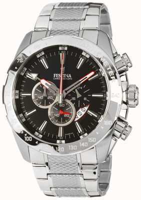 Festina Mens Chronograph Stainless Steel Bracelet Black Dial F16488/5