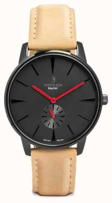 Weird Ape Black Red Dial Sandstone Tan Suede Leather Strap WA02-005611