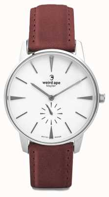 Weird Ape Mayfair White Silver Dial Blood Red Suede Strap WA02-005644