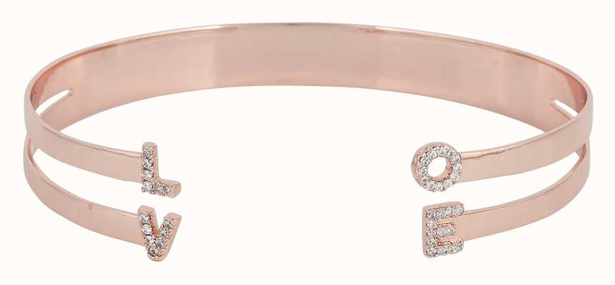 "Mya Bay Rose Gold PVD Plated ""love"" Bangle With Stones JC-LO-01.P"