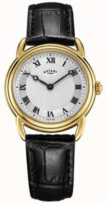 Rotary Women's Canterbury Black Leather gold case watch LS05338/21