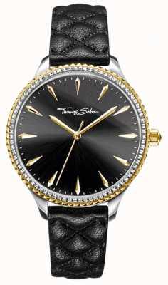 Thomas Sabo Womens Rebel At Heart Watch Black Leather Strap Black Dial WA0323-221-203-38