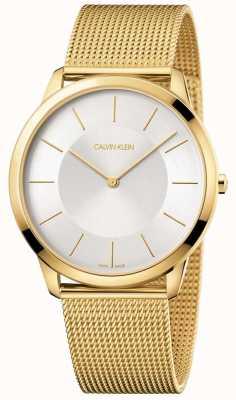 Calvin Klein Mens Minimal Yellow Gold Mesh Bracelet Silver Dial Watch K3M2T526