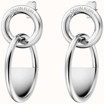 Calvin Klein Ladies Locked Silver Stainless Steel Earrings KJ8GME000100