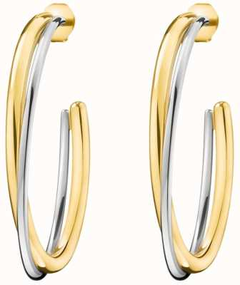Calvin Klein Ladies Double Yellow Gold & Silver Stainless Steel Earrings KJ8XJE200100