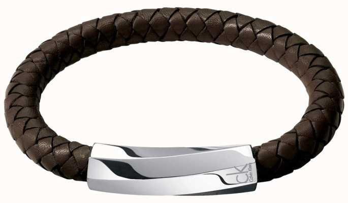 Calvin Klein Mens Bewilder Brown Leather Twisted Bracelet KJ2BCB09010M