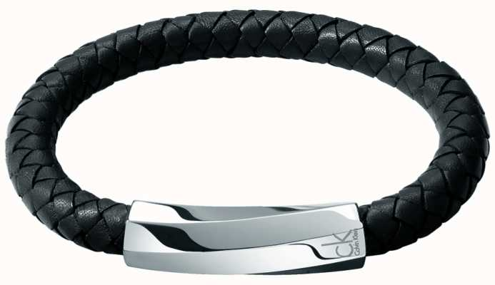 Calvin Klein Mens Bewilder Black Leather Twisted Bracelet KJ2BBB09010M