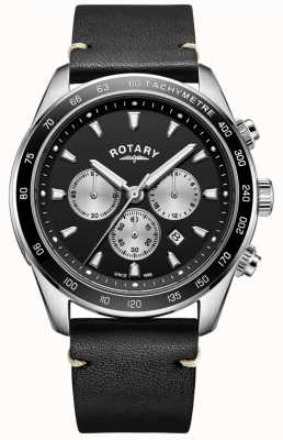 Rotary Mens Henley Watch Black Chrono Dial Black Leather Strap GS05115/04