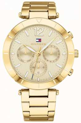 Tommy Hilfiger Womens Chloe Watch Day Date Gold Tone Bracelet 1781878