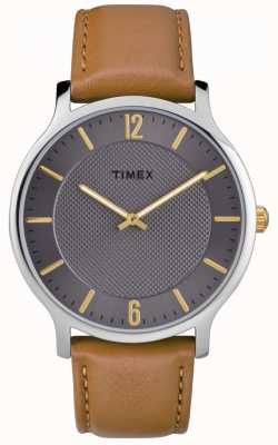 Timex Mens Slim Skyline 40mm Brown Leather Strap Gray Dial TW2R49700