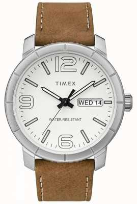 Timex Mens Mod 44 Beige Leather Strap White Dial TW2R64100