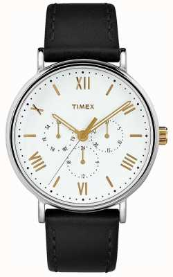 Timex Mens 41mm Southview Black Leather Strap White Dial TW2R80500