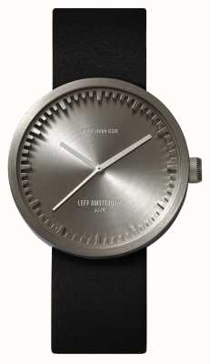 Leff Amsterdam Tube Watch D38 Steel Case Black Leather Strap LT71001