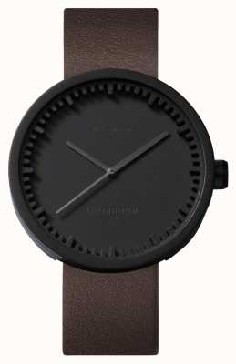 Leff Amsterdam Tube Watch D38 Black Case Brown Leather Strap LT71012