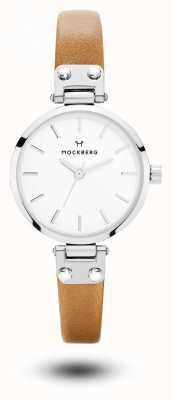 Mockberg Wera Petite Brown Leather Strap White Dial MO1404