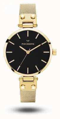 Mockberg Women's Livia Petite Noir Gold Mesh Bracelet Black Dial MO403