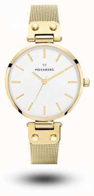 Mockberg Livia Gold PVD Plated Mesh Bracelet White Dial MO1601