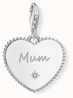 Thomas Sabo Sterling Silver Heart Mum Charm Pendant White Zirconia 1686-051-21