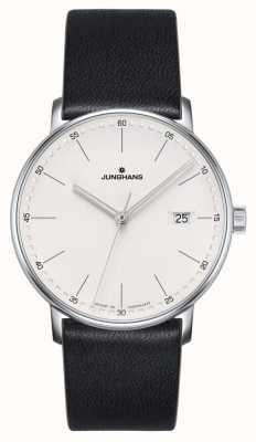 Junghans FORM Quartz black leather watch 041/4884.00