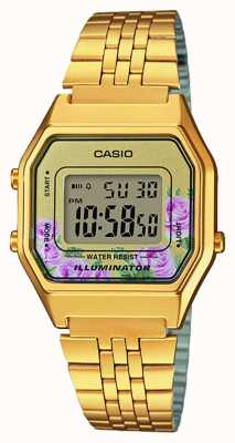Casio Illuminator gold PVD Plated Floral Print Dial LA680WEGA-4CEF