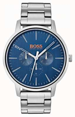 Hugo Boss Orange Blue Dial Day & Date Display Stainless Steel Bracelet 1550067